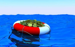Concept of rescue of money. Coins in lifesaver.
